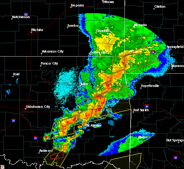 Radar Image for Severe Thunderstorms near Kansas, OK at 10/20/2019 11:38 PM CDT