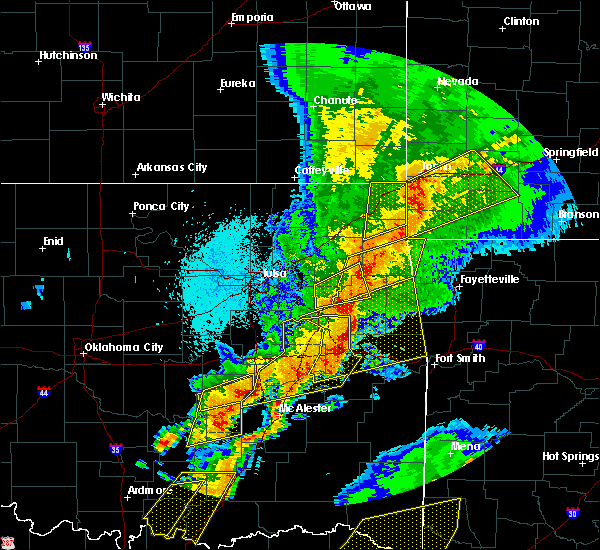 Radar Image for Severe Thunderstorms near Kansas, OK at 10/20/2019 11:44 PM CDT