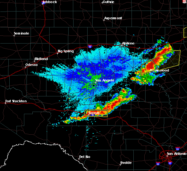 Radar Image for Severe Thunderstorms near Menard, TX at 10/20/2019 11:50 PM CDT