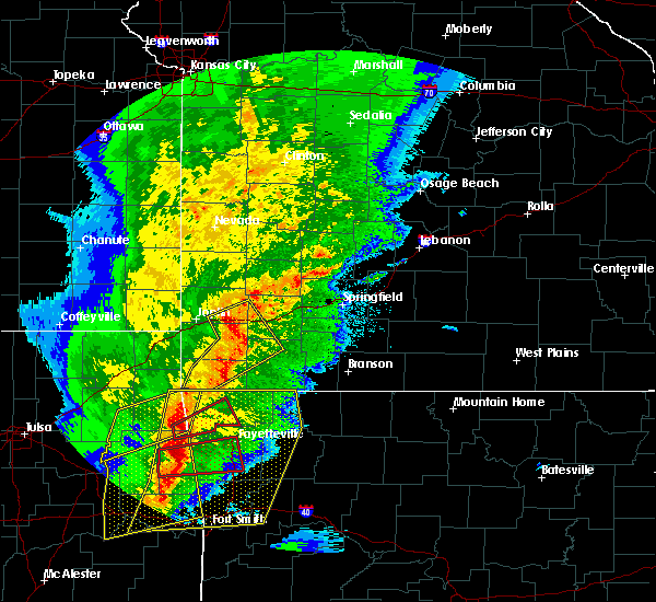 Radar Image for Severe Thunderstorms near La Russell, MO at 10/21/2019 12:09 AM CDT