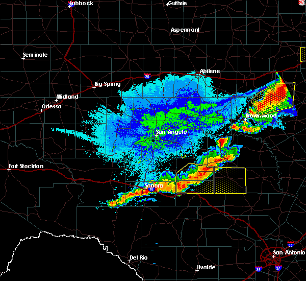 Radar Image for Severe Thunderstorms near Junction, TX at 10/21/2019 12:12 AM CDT