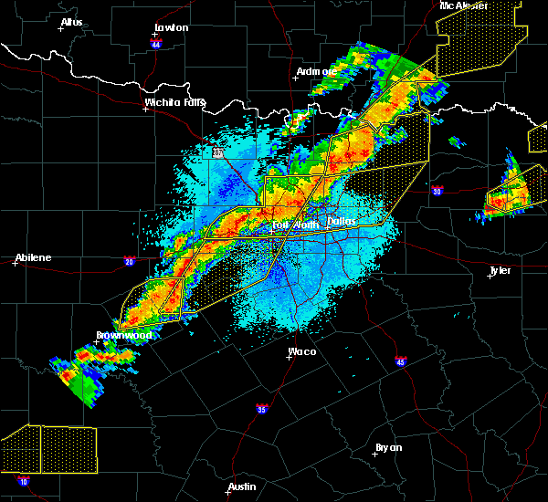 Radar Image for Severe Thunderstorms near Cleburne, TX at 10/21/2019 12:24 AM CDT