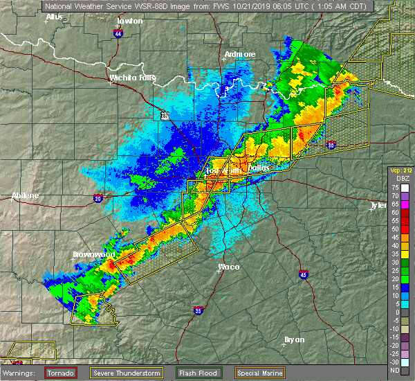 Radar Image for Severe Thunderstorms near Cooper, TX at 10/21/2019 1:07 AM CDT