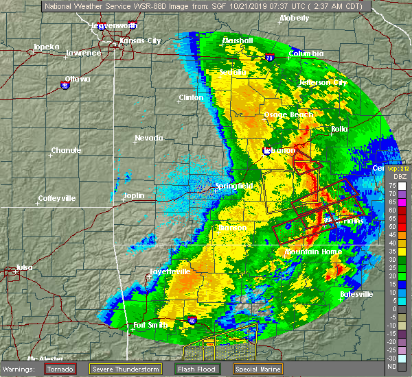 Radar Image for Severe Thunderstorms near Montier, MO at 10/21/2019 2:47 AM CDT