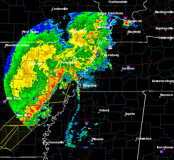 Radar Image for Severe Thunderstorms near Tyronza, AR at 10/21/2019 5:28 AM CDT