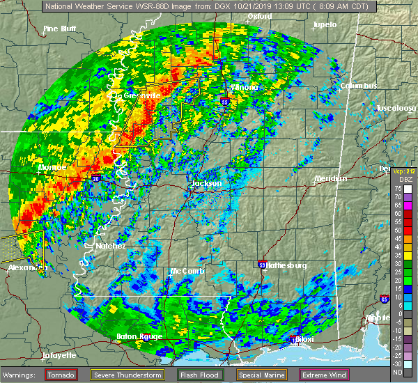 Radar Image for Severe Thunderstorms near Sunflower, MS at 10/21/2019 8:15 AM CDT