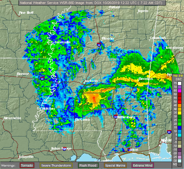 Radar Image for Severe Thunderstorms near Taylorsville, MS at 10/26/2019 7:29 AM CDT