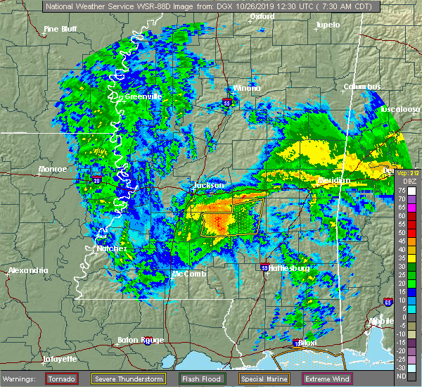 Radar Image for Severe Thunderstorms near Flowood, MS at 10/26/2019 7:38 AM CDT