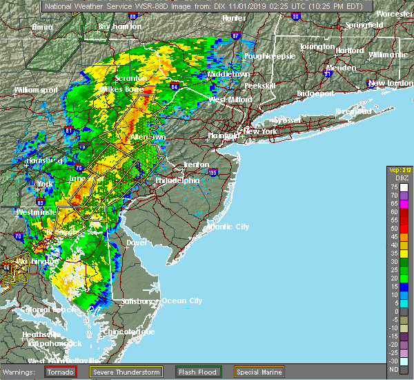 Radar Image for Severe Thunderstorms near Fullerton, PA at 10/31/2019 10:29 PM EDT