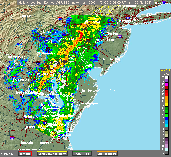 Radar Image for Severe Thunderstorms near Bowleys Quarters, MD at 10/31/2019 11:04 PM EDT