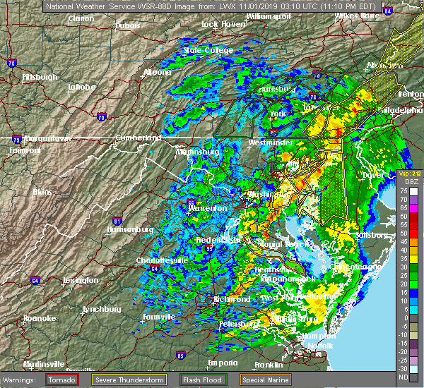 Radar Image for Severe Thunderstorms near Charlotte Hall, MD at 10/31/2019 11:13 PM EDT