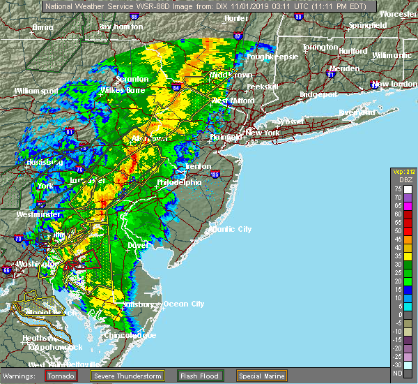 Radar Image for Severe Thunderstorms near Bear, DE at 10/31/2019 11:18 PM EDT
