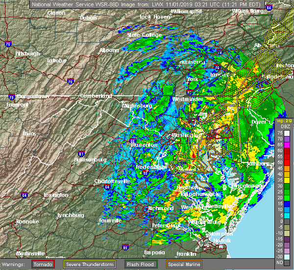 Radar Image for Severe Thunderstorms near Lexington Park, MD at 10/31/2019 11:25 PM EDT