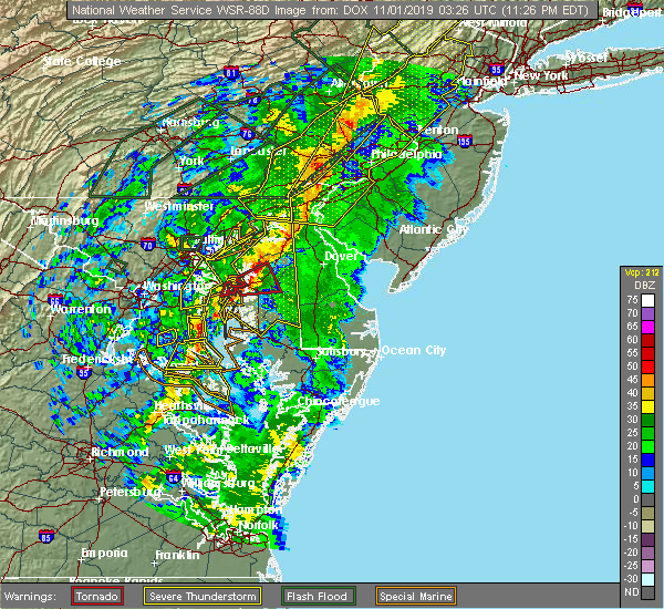 Radar Image for Severe Thunderstorms near Centreville, MD at 10/31/2019 11:29 PM EDT