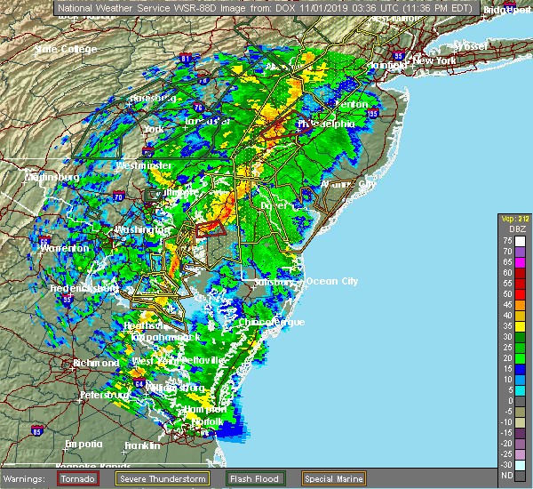 Radar Image for Severe Thunderstorms near Lexington Park, MD at 10/31/2019 11:43 PM EDT