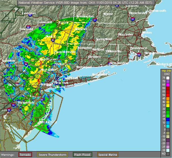 Radar Image for Severe Thunderstorms near Roselle Park, NJ at 11/1/2019 12:31 AM EDT