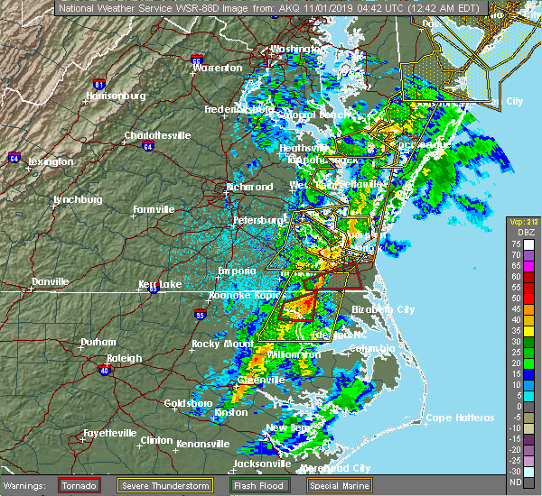 Radar Image for Severe Thunderstorms near Cofield, NC at 11/1/2019 12:55 AM EDT