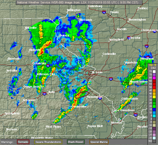 Radar Image for Severe Thunderstorms near Fredericktown, MO at 11/26/2019 10:01 PM CST
