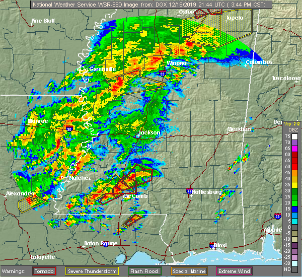 Radar Image for Severe Thunderstorms near New Hebron, MS at 12/16/2019 3:48 PM CST