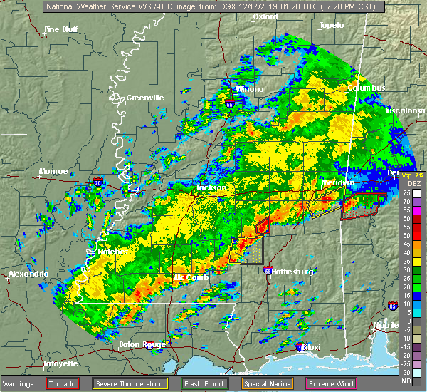 Radar Image for Severe Thunderstorms near Bay Springs, MS at 12/16/2019 7:25 PM CST