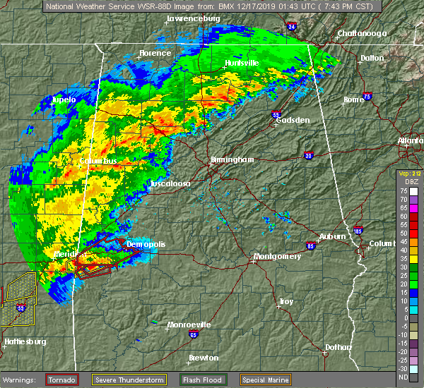 Radar Image for Severe Thunderstorms near Bellamy, AL at 12/16/2019 7:48 PM CST