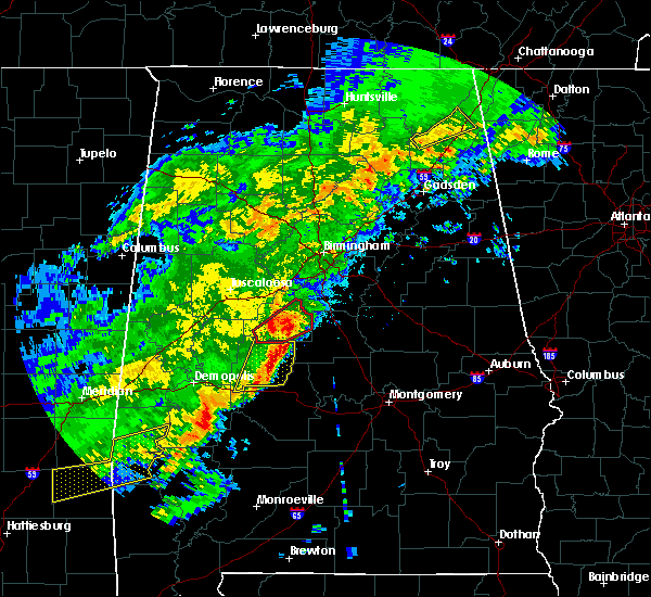 Radar Image for Severe Thunderstorms near Clanton, AL at 12/16/2019 9:41 PM CST