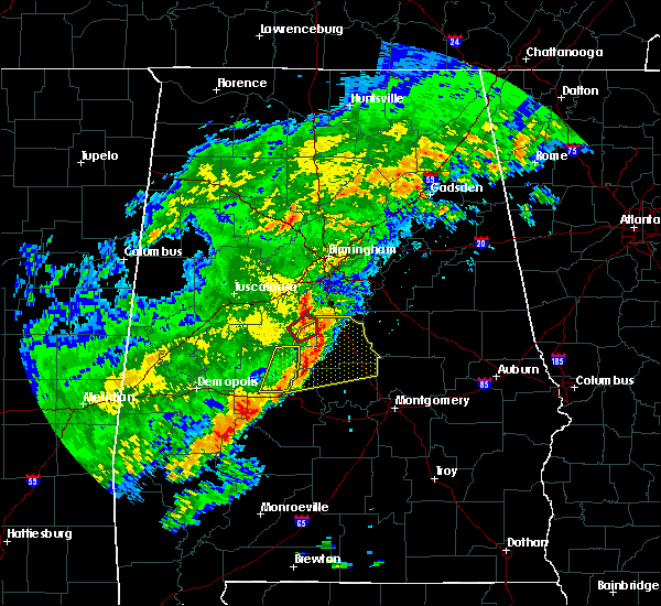 Radar Image for Severe Thunderstorms near Clanton, AL at 12/16/2019 10:03 PM CST