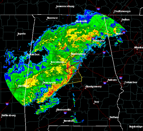 Radar Image for Severe Thunderstorms near Columbiana, AL at 12/16/2019 10:05 PM CST