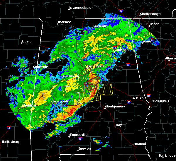 Radar Image for Severe Thunderstorms near Columbiana, AL at 12/16/2019 10:25 PM CST
