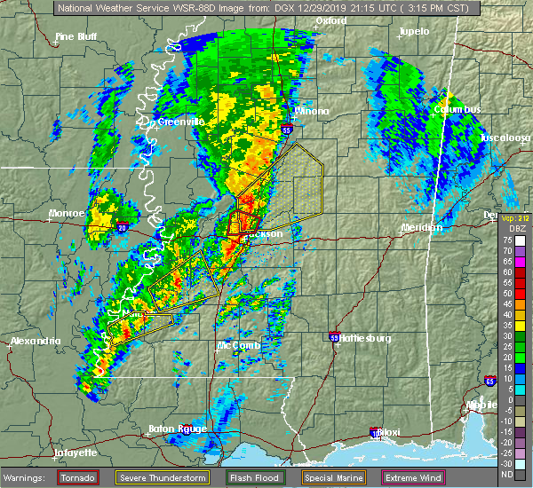 Radar Image for Severe Thunderstorms near Ridgeland, MS at 12/29/2019 3:22 PM CST