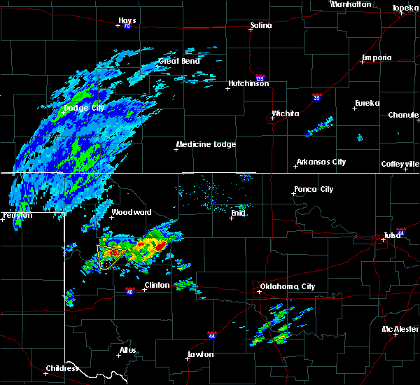 Radar Image for Severe Thunderstorms near Vici, OK at 1/10/2020 8:00 AM CST