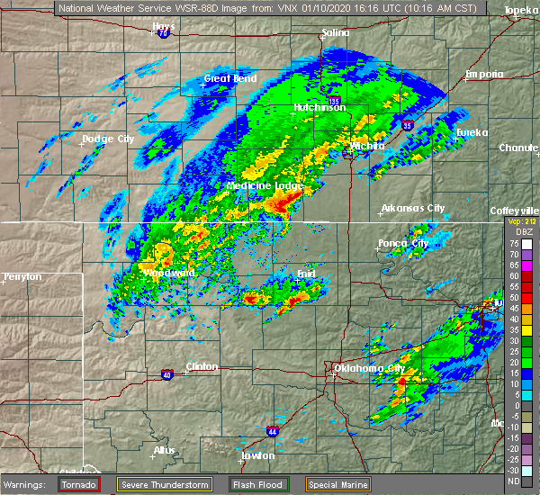 Radar Image for Severe Thunderstorms near Fairmont, OK at 1/10/2020 10:23 AM CST