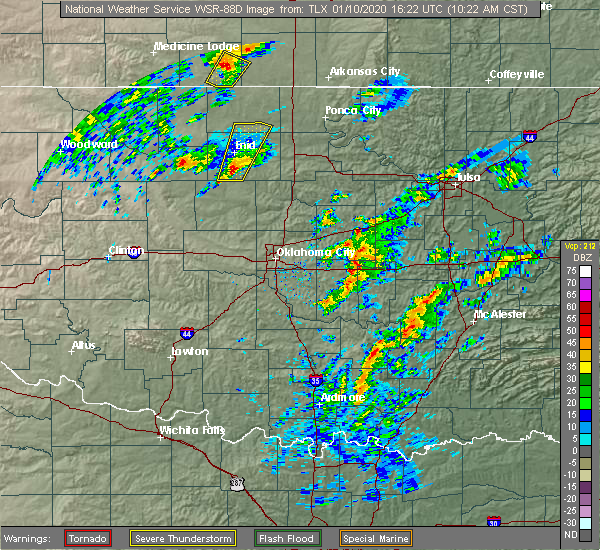 Radar Image for Severe Thunderstorms near Lamar, OK at 1/10/2020 10:33 AM CST