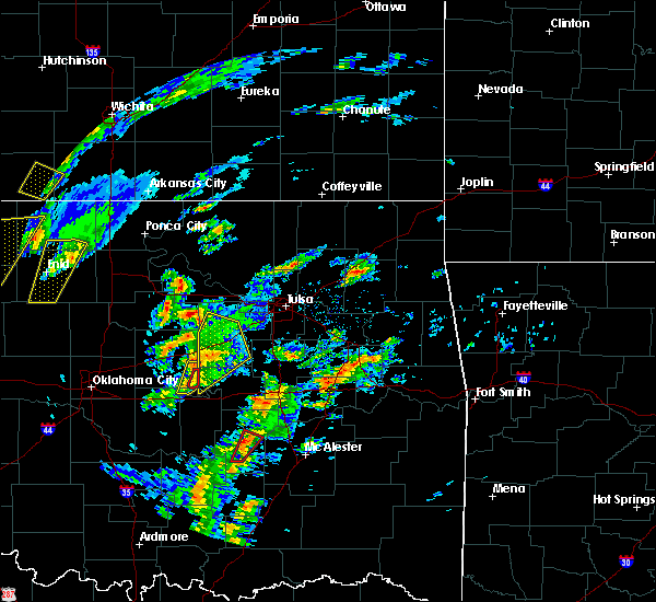 Radar Image for Severe Thunderstorms near Bristow, OK at 1/10/2020 10:45 AM CST