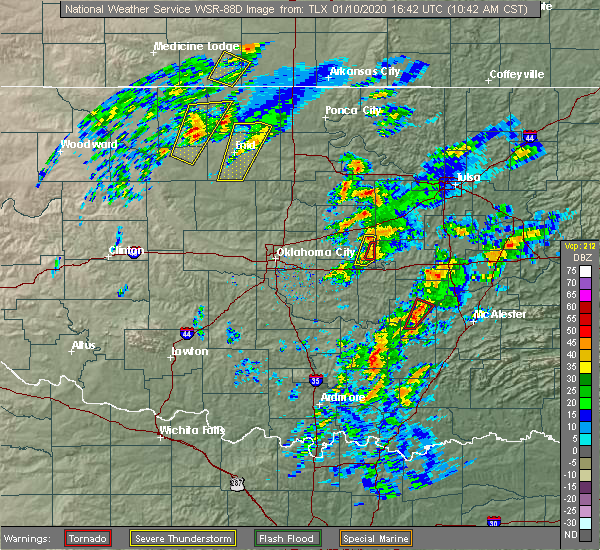 Radar Image for Severe Thunderstorms near Lamar, OK at 1/10/2020 10:47 AM CST