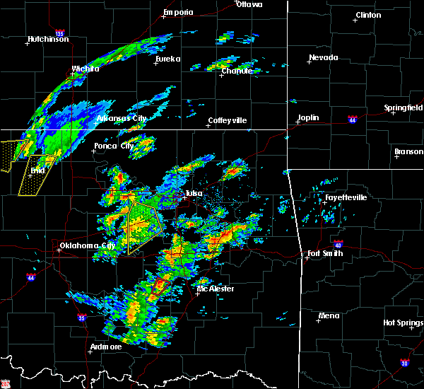 Radar Image for Severe Thunderstorms near Bristow, OK at 1/10/2020 10:55 AM CST