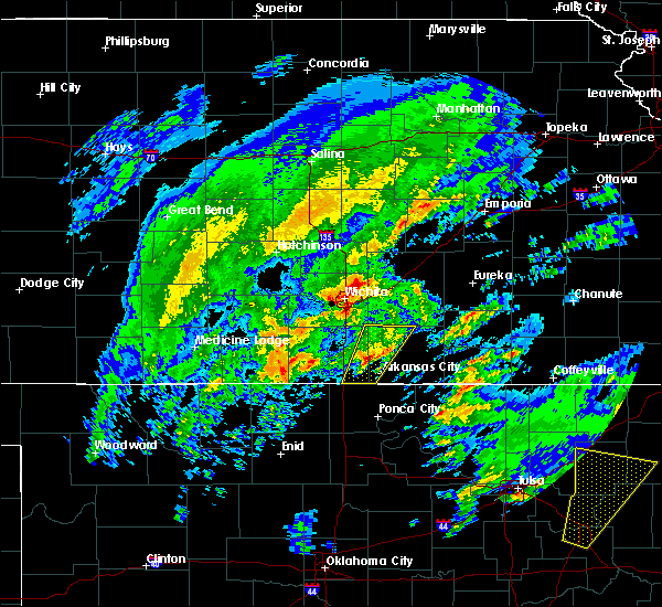 Radar Image for Severe Thunderstorms near Oxford, KS at 1/10/2020 11:36 AM CST