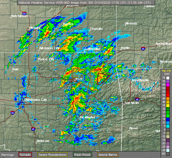 Radar Image for Severe Thunderstorms near Ballou, OK at 1/10/2020 12:03 PM CST