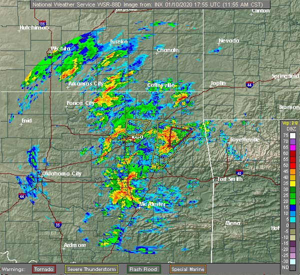Radar Image for Severe Thunderstorms near Bernice, OK at 1/10/2020 12:11 PM CST