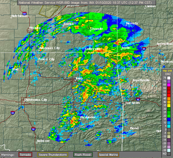 Radar Image for Severe Thunderstorms near Fairland, OK at 1/10/2020 12:39 PM CST