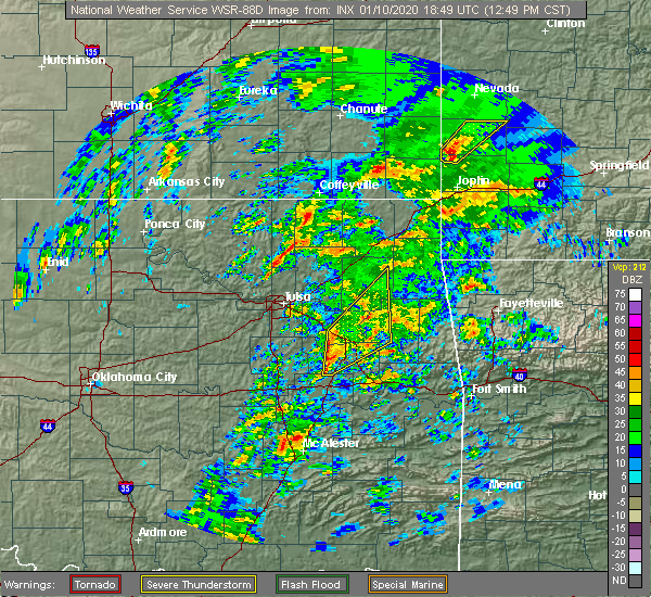 Radar Image for Severe Thunderstorms near Okay, OK at 1/10/2020 12:57 PM CST