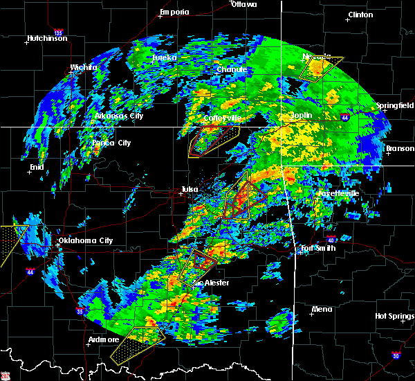 Radar Image for Severe Thunderstorms near Checotah, OK at 1/10/2020 1:40 PM CST
