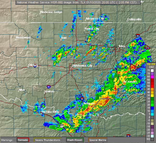 Radar Image for Severe Thunderstorms near Phillips, OK at 1/10/2020 2:11 PM CST