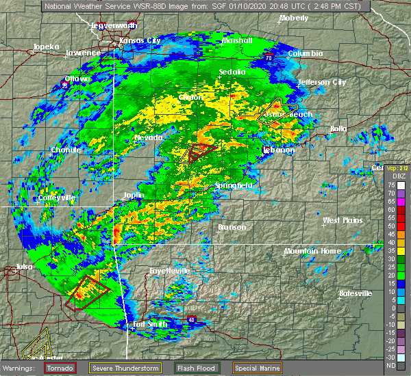 Radar Image for Severe Thunderstorms near Hermitage, MO at 1/10/2020 2:54 PM CST