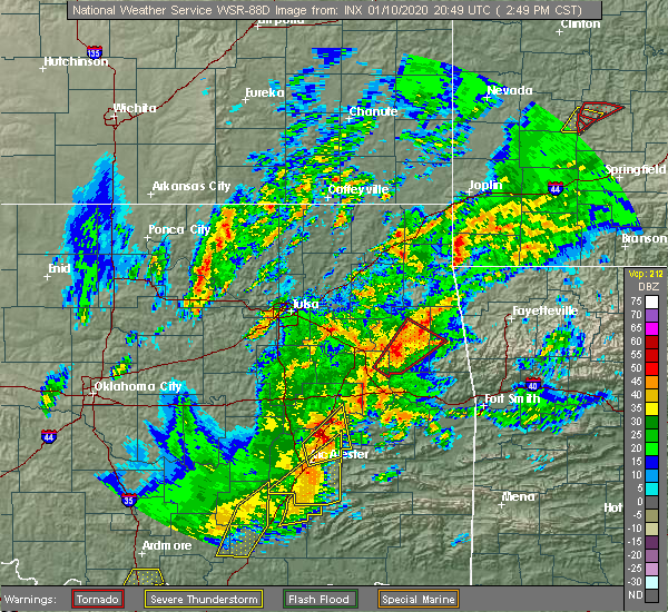 Radar Image for Severe Thunderstorms near Checotah, OK at 1/10/2020 2:54 PM CST