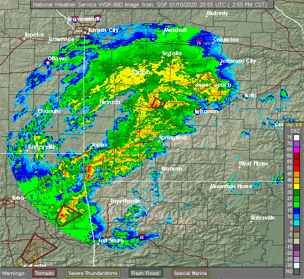 Radar Image for Severe Thunderstorms near Hermitage, MO at 1/10/2020 3:04 PM CST