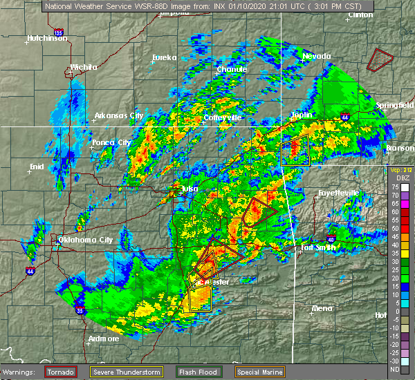Radar Image for Severe Thunderstorms near Park Hill, OK at 1/10/2020 3:09 PM CST
