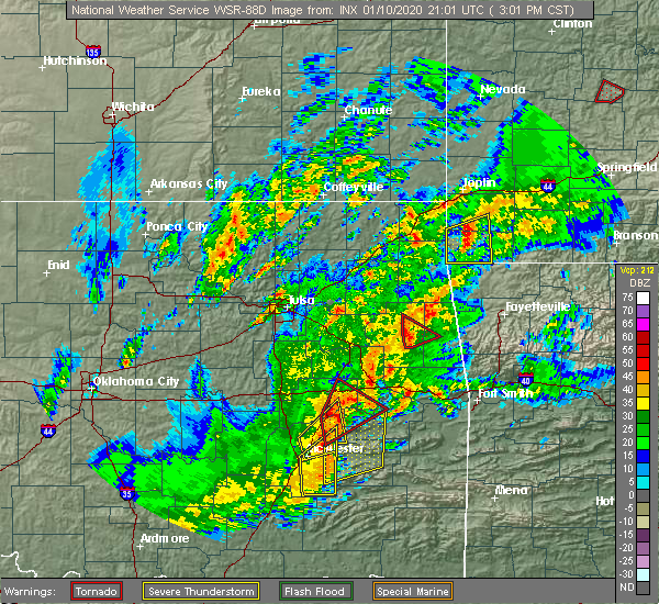 Radar Image for Severe Thunderstorms near Checotah, OK at 1/10/2020 3:10 PM CST