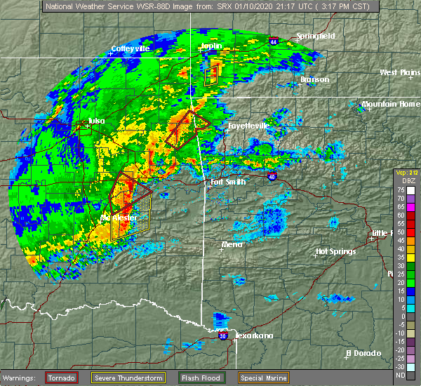 Radar Image for Severe Thunderstorms near Red Oak, OK at 1/10/2020 3:24 PM CST