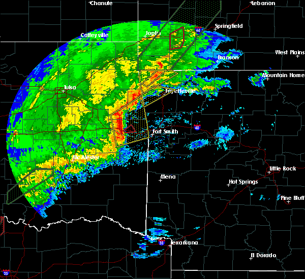 Radar Image for Severe Thunderstorms near Sallisaw, OK at 1/10/2020 4:07 PM CST